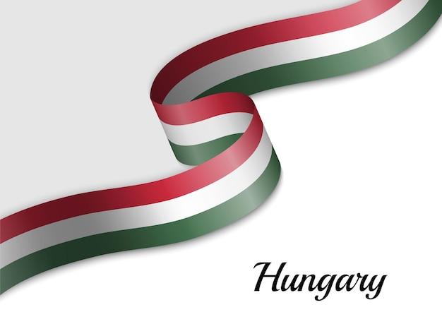 Sventolando la bandiera del nastro dell'ungheria