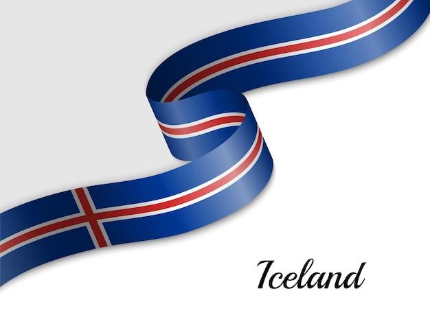 Sventolando la bandiera del nastro dell'islanda