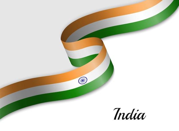 Sventolando la bandiera del nastro dell'india