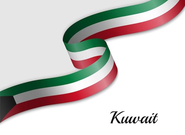 Sventolando la bandiera del nastro del kuwait