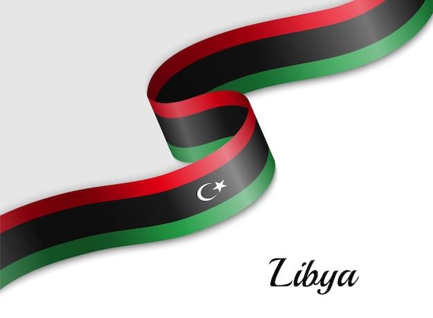 Sventolando la bandiera del nastro della libia