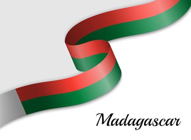 Sventolando la bandiera del nastro del madagascar