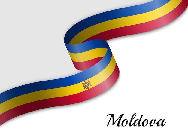 Sventolando la bandiera del nastro della moldavia