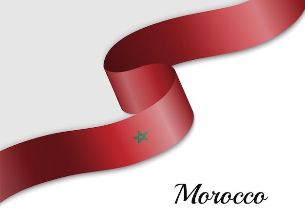 Sventolando la bandiera del nastro del marocco