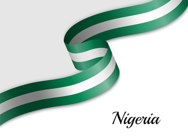 Sventolando la bandiera del nastro della nigeria