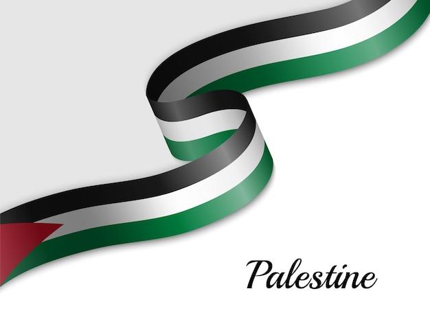 Sventolando la bandiera del nastro della palestina