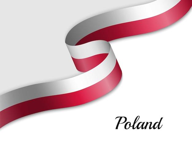 Sventolando la bandiera del nastro della polonia