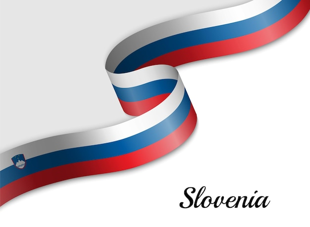 Sventolando la bandiera del nastro della slovenia