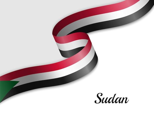 Sventolando la bandiera del nastro del sudan