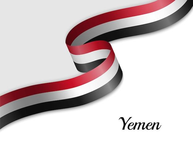 Sventolando la bandiera del nastro dello yemen
