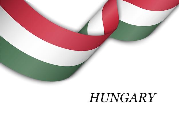 Sventolando il nastro con la bandiera dell'ungheria.