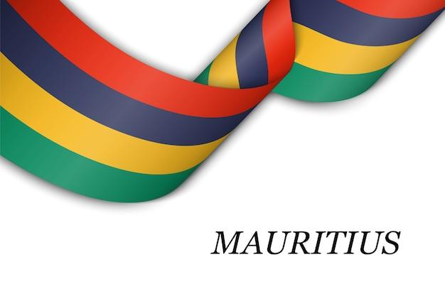 Sventolando il nastro con la bandiera delle mauritius.