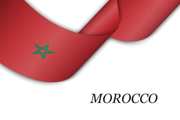 Sventolando il nastro con la bandiera del marocco.