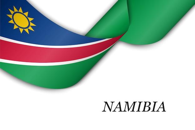 Sventolando il nastro con la bandiera della namibia.
