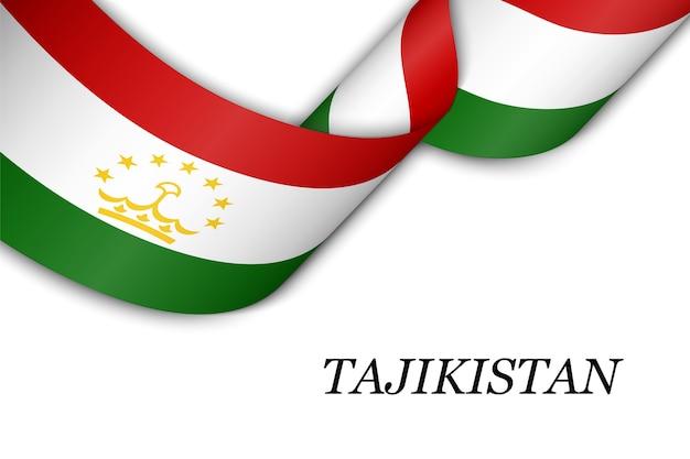 Sventolando il nastro con la bandiera del tagikistan.