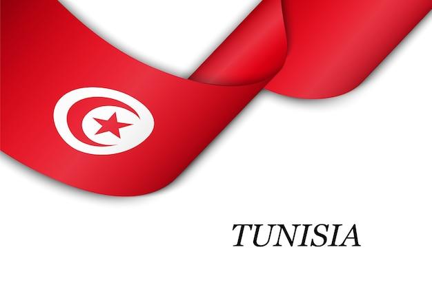 Sventolando il nastro con la bandiera della tunisia.