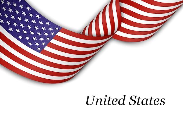 Sventolando il nastro con la bandiera degli stati uniti d'america.