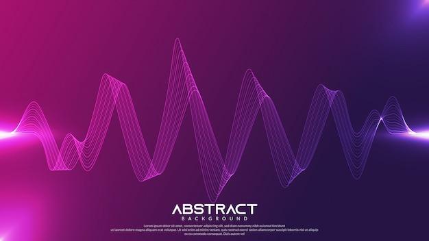 Sfondo ondulato con sfumatura viola e luce incandescente
