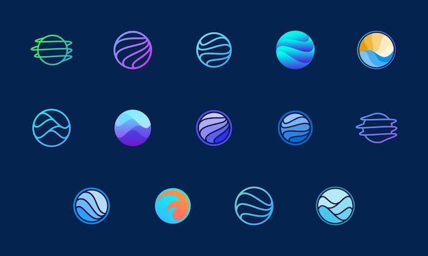 Insieme di design del logo del cerchio ondulato, modello di logo astratto