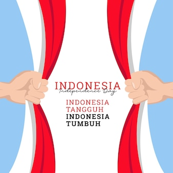 Progettazione ondulata della bandiera dell'indonesia per il modello delle insegne del giorno dell'indipendenza dell'indonesia del giorno dell'indipendenza