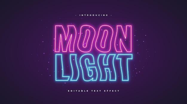 Testo ondulato al chiaro di luna con effetto neon incandescente. effetto stile testo modificabile