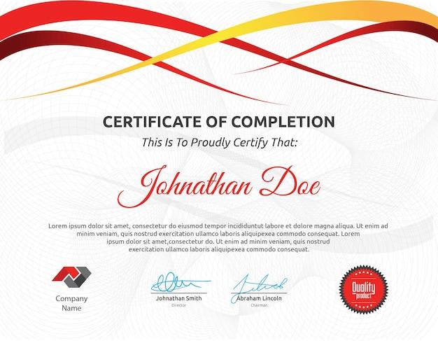 Modello di certificato multicolore ondulato