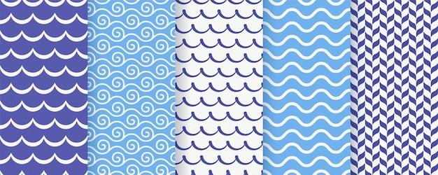 Modello senza cuciture ondulato illustrazione. stampe geometriche del mare.