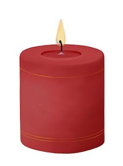 Candela rossa di paraffina che brucia cera con fuoco