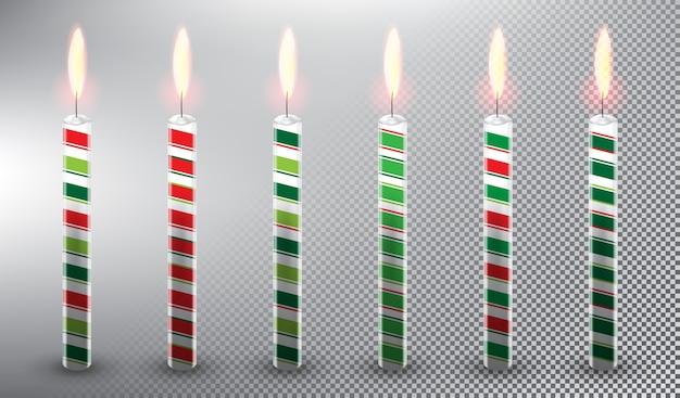 Candele di cera candele torta di compleanno decorazioni natalizie isolato su sfondo bianco