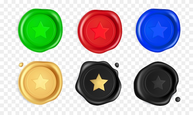 Sigillo di cera con stelle. timbri con sigillo di cera verde, rosso, blu, oro, nero con stella.