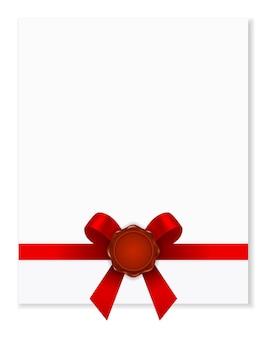 Sigillo di cera con nastro fiocco rosso sull'icona documento pagina di carta