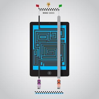 La via del successo nel dispositivo di marketing online come internet tablet smartphone