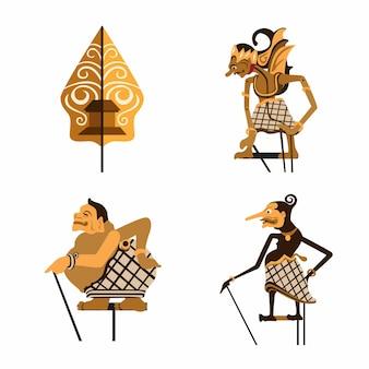 Wayang aka leather puppet insieme di simboli di burattini tradizionali indonesiani insieme vettoriale