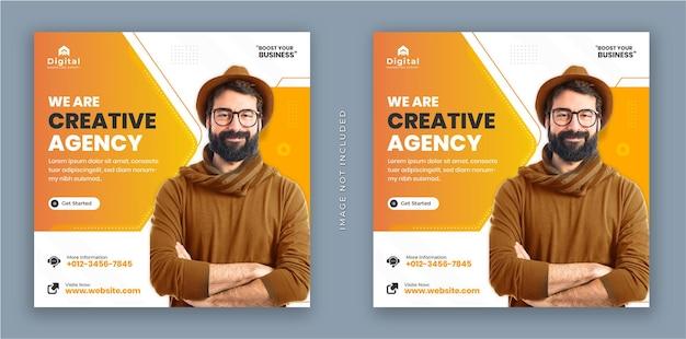 Siamo un'agenzia creativa e un volantino aziendale quadrato instagram social media post banner