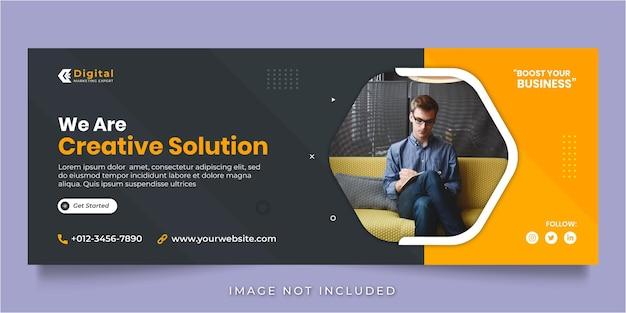 Siamo un'agenzia di soluzioni creative e un modello di banner per post sui social media con copertina di facebook aziendale business