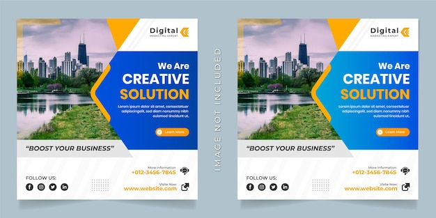 Siamo un'agenzia di soluzioni creative e un modello di banner di post instagram per social media quadrati