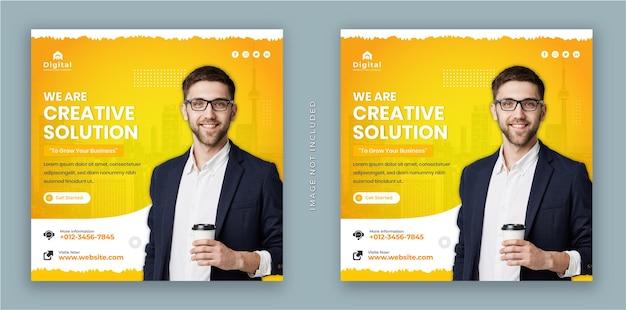 Siamo un volantino per un'agenzia di marketing di soluzioni creative e un moderno banner quadrato per post sui social media di instagram