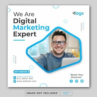 Siamo un banner di promozione del marketing digitale per il modello di post di instagram sui social media o il volantino quadrato