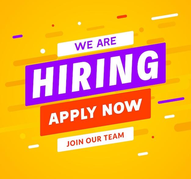 Stiamo assumendo lo sfondo del messaggio dei dipendenti di carriera. insegna di concetto di reclutamento di lavoro di assunzione di occupazione.