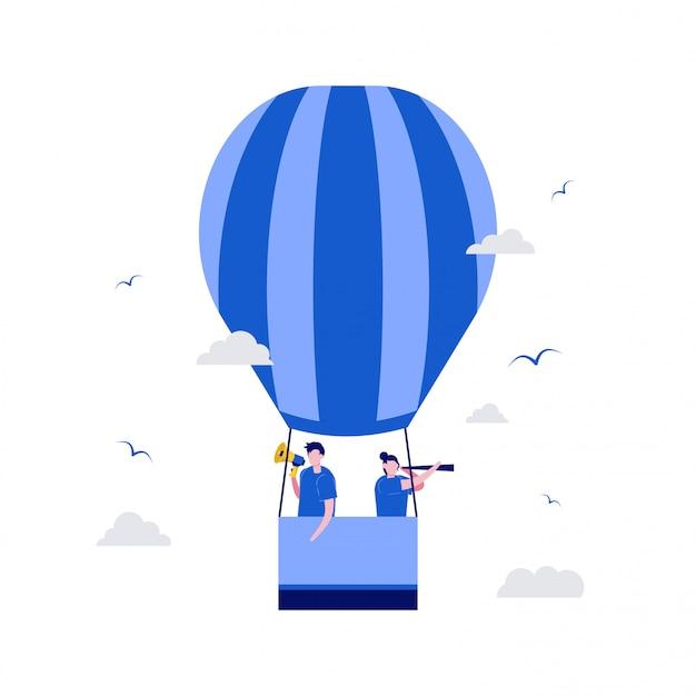 Stiamo assumendo il concetto di illustrazione con personaggi e mongolfiere.