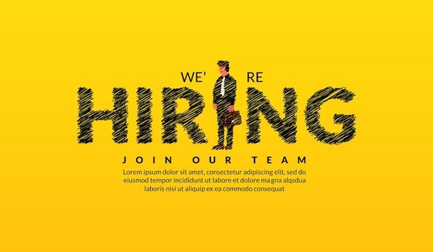 Stiamo assumendo reclutatori scritte con sfondo di uomo d'affari concetto di lavoro vacante