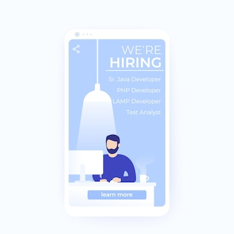 Stiamo assumendo sviluppatori di software, banner vettoriali per social media e app