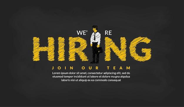 Stiamo assumendo un modello con un uomo d'affari concetto di reclutamento aziendale di sfondo di posti di lavoro vacanti