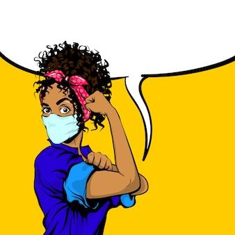Possiamo farlo donna africana nera nel poster retrò maschera medica