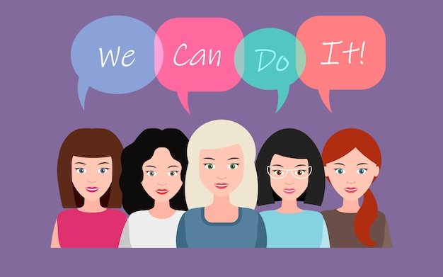 Possiamo farlo. concetto di potere femminile, diritti delle donne, protesta, femminismo. vettore.