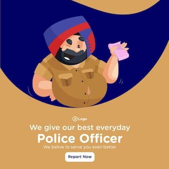 Diamo il nostro miglior design di banner quotidiano con un agente di polizia che tiene i soldi in mano