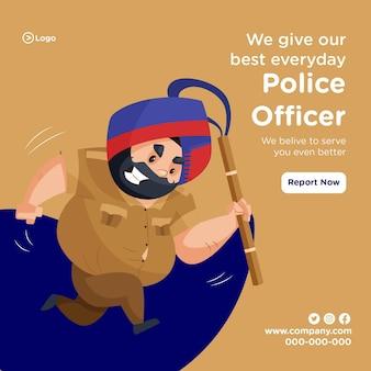 Diamo il nostro miglior design di banner quotidiano con un agente di polizia che corre e tiene il bastone in mano