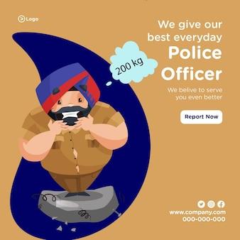 Diamo il nostro miglior design di banner quotidiano con un agente di polizia in piedi sulla bilancia