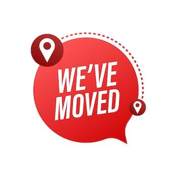 Abbiamo traslocato. segno dell'ufficio in movimento. immagine di clipart isolata su fondo blu. illustrazione.