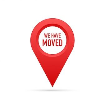 Abbiamo traslocato. segno dell'ufficio in movimento.